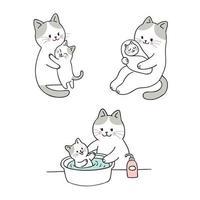 mamma och baby katt dusch