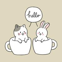 Cartoon cute cat and rabbit in cup coffee