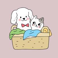 Dibujos animados lindo perro y gato en la cesta