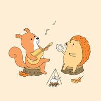 Autumn squirrel and hedgehog playing music