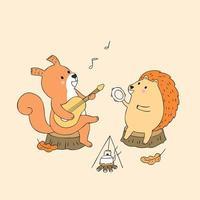 Scoiattolo d'autunno e riccio suonando musica