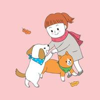 ragazza e cane e gatto che giocano