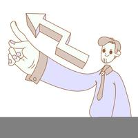 business man pointing upwards growth illustration vector