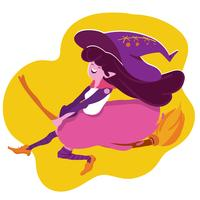 halloween witch flying with broomstick