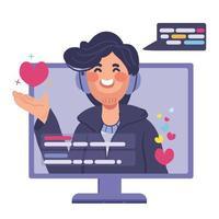 vlogger livestreaming cartoon ui