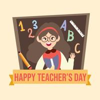 Happy teachers day teacher cartoon illustration