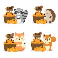 Cute woodland animals in Fall Season. vector