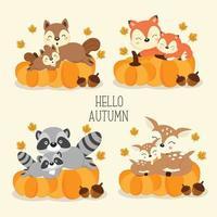 Söta skogsdjur på hösten.