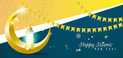 Achtergrond met maan en lantaarn van islamitisch nieuw jaar