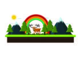 Paisaje con montañas de renos y árboles