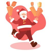 Santa claus running with gifts for christmas