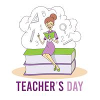 Teacher sitting on top of books cartoon for teacher's day