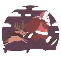 Papá Noel corriendo con Rudolph, la nariz roja raindeer fondo nevado