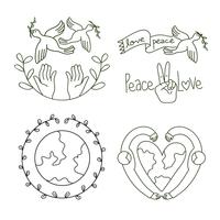 peace and love logo design set