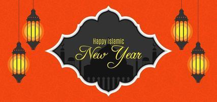 Oranjerode Islamitische Nieuwjaarontwerpachtergrond met hangende lantaarns