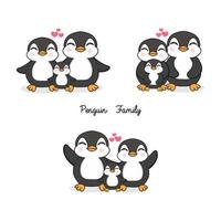 Family of penguins in flat style.