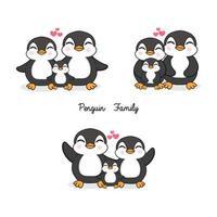 Familj av pingviner i platt stil.