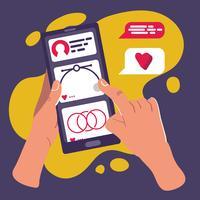 mão tocando desenhos animados de interface do usuário de smartphone