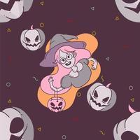 bruja de halloween y calabaza de patrones sin fisuras