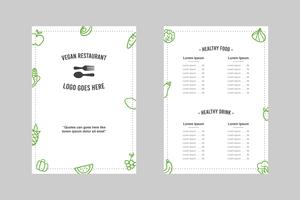 Simple Minimalistic Vegan Restaurant Menu Template