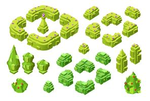 3D isometric trees and hedges