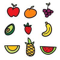 Jeu de fruits dessinés à la main