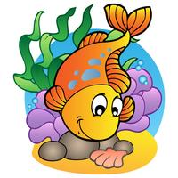 Stile cartoon pesce e alghe