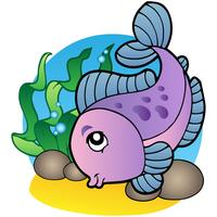 Cartoon Style Purple Fish