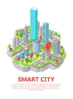 Ilustração em vetor cidade inteligente isométrica