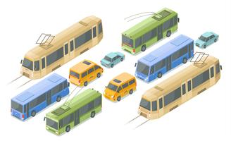 Isometric public transport vector illustration