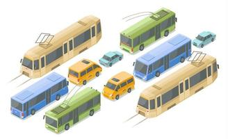 Ilustración de vector de transporte público isométrico