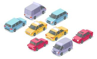 Isometric cars vector illustration isolated icons
