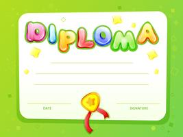 Vector cartoon kids certificate diploma template
