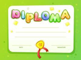 Modello del diploma del certificato dei bambini del fumetto di vettore