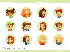Children characters avatars