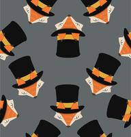 fox head with hat pattern vector