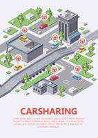 Isometric carsharing map vector illustration