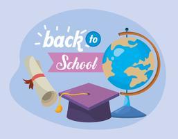 Tillbaka till skolmeddelandet med världen och examen cap och examensbevis