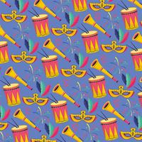 Seamless carnival background with masks, drums, and trumpets