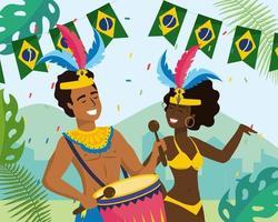 Músico e dançarino de carnaval masculino e feminino com banner da bandeira brasileira