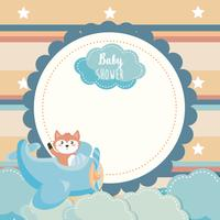 Baby shower label with fox in airplane  vector