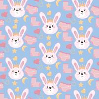 Seamless baby shower gift background with pink rabbits and socks