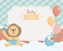 Baby shower card with lion in diaper with rattle