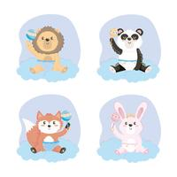 Set of baby animals in diapers with rattles