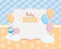 Baby dusch etikett med skraller och ballonger