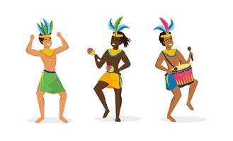 Conjunto de dançarinos de carnaval masculino em traje