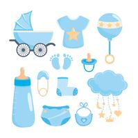 Set of blue baby shower celebration and decoration elements