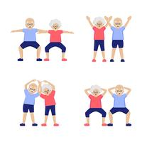 Couple Elderly People Doing Exercises Set