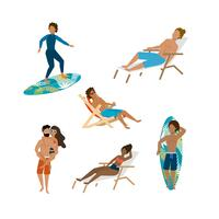 Set of men and women surfing and sitting on beach chair