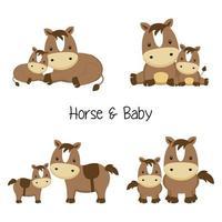 Uppsättning av mamma och babyhäst i olika poser i tecknad stil.
